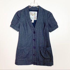 Anthro Tabitha Short Sleeve Blazer Blue Green